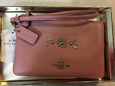 Coach 56530B Western Rivets Small Wristlet Leather Pink Silver  NWT