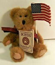 BOYDS LITTLE BANGLES FLAG WAVING TEDDY BEAR HEAD BEAN COLLECTION HEIRLOOM SERIES