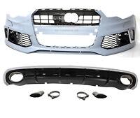 Für Audi A6 4G 14-18 RS6 Look Frontstoßstange + Diffusor Scheinwerfer Grill #01