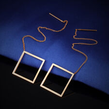 Surgical Stainless Steel Threader Earrings Tassels Hollow Square Rose Gold Gp