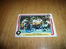 ROCKY BLEIER AUTOGRAPH CARD-1980 FLEER #65 SUPER BOWL IX PITTSBURGH/VIKINGS