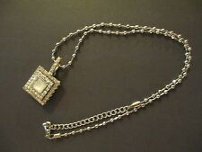 """18"""" Silver Chain with Silver Crystal Clustered Pendant!  Lightly Used!"""