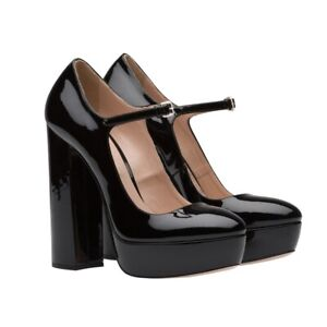 Womens High Block Heel Round Toe Platform Pumps Patent Leather Shoes Party Dress