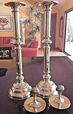 Pair Vintage Sarreid Adjustable Brass Push-Up Candlestick Holders + Shell Covers