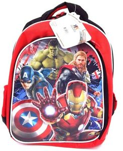 "Marvel Avengers Age Of Ultron Boy's Heavily Padded Backpack Book-Bag 14""x12"" NWT"