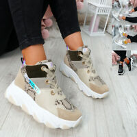 WOMENS LADIES HIGH TOP CHUNKY TRAINERS LACE UP SNAKE SNEAKERS FASHION SHOES