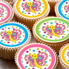 24 icing cake cupcake fairy toppers decorations ND3 Butterflies colourful