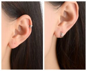 Single 925 Sterling Silver Plated Small CARTILAGE CUFF No Pierced Clip EarringUK