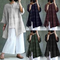 Womens Summer Cotton Linen Tunic Tops Blouse Casual Shirt Dress Loose Plus Size