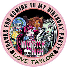 "30 X Personalised Monster High Round 50mm 2"" Stickers Party Thank You Labels"
