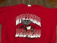 Vintage University Of Wisconsin Badgers 3XL Red Sweatshirt XXXL Bucky Mascot
