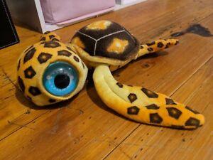 Plush Blue Eyed Baby Sea Turtle Yellow & Brown
