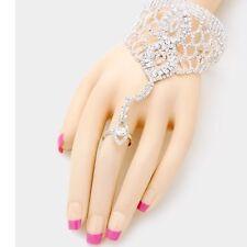 Clear Silver Crystal Rhinestone Slave Clear Ring Hand Chain Bracelet Bridal