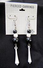 Black White Triple Ball Dangling Fish Hook Pierced Earrings New