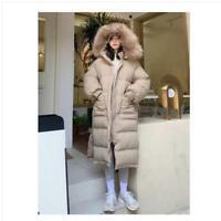 Women's Solid Down Coat Long Parka Hooded Warm Winter Outwear Overcoat Loose