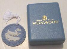 """Wedgwood ornament Blue Jasperware Reindeer Moose round medallion 2.25"""" in box"""