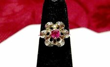 14K YELLOW GOLD TEXTURED 3D PETALS FLOWER PINK STONE COCKTAIL RING SIZE 4