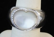 18K White Gold Pasquale Bruni MOP Heart Diamond Halo Ring Size 5.5