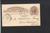 ODEBOLT,IOWA 1886 GOVERNMENT POSTAL CARD,FANCY CDS & STAR CL, SAC CO 1877/OP.