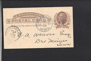 ODEBOLT,IOWA 1886 GOVERNMENT POSTAL CARD,FANCY CDS & STAR CL, SAC CO 1877/OP.