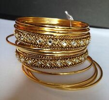 NEW ANTICA COLLECTION Gold Tone with Rhinestones Bangle Bracelet Set of 14