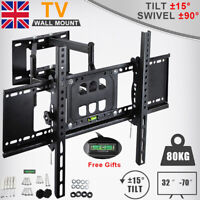 "Swivel Tilt TV Wall Mount Bracket Full Motion FITS 32 40 46 50 55 60 65 70"" Inch"