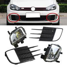Fit For VW Golf GTI MK6 2009-2013 Front LED Fog Light + Grille Grill Cover Kit