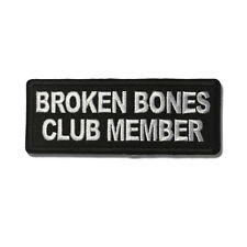 Embroidered Broken Bones Club Member Sew or Iron on Patch Biker Patch