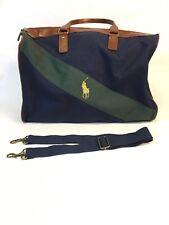 VTG 90s Ralph Lauren Polo Leather Canvas Weekender Bag Excellent Condition