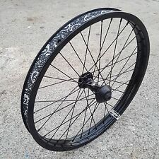 "SHADOW CONSPIRACY SYMBOL FRONT WHEEL WITH HUB GUARDS 3/8"" BLACK BMX BIKE WHEELS"
