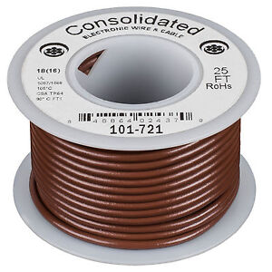 Consolidated Stranded 18 AWG Hook-Up Wire 25 ft. Brown UL Ra