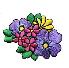 "#5081 2 1/8"" Purple Pink Flower Embroidery Iron On Appliqué Patch"