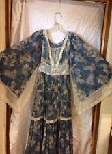 Vtg 70's  Gunne Sax Maxi Dress Bat Wing Sleeves Sz 11 Boho Gypsy Hippie Floral