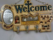Pendant Bless the home welcome Protestant cross wood Wall hanging key holder