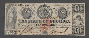 Milledgeville Georgia - The State of Georgia - Ten Dollars ($10) - February 1863
