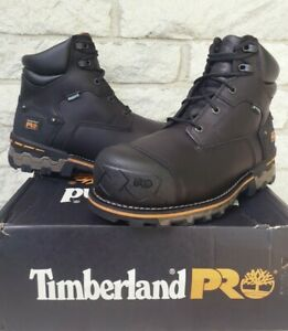 "Timberland PRO 6"" Mens Boondock Comp Toe Work Boots Size 10.5 Black A1FZP $205"