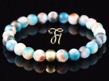 Jade Bleu Coloré 925 Argent Fin Plaqué or Bracelet Bracelet Bracelet de Perles