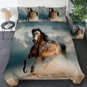 3D Horse Wild Animal Abstract King Queen Twin Quilt Duvet Pillow Cover Bed Set