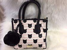 NEW! Betsey Johnson Pink Black Kitty Cat Printed Satchel Crossbody Bag Purse