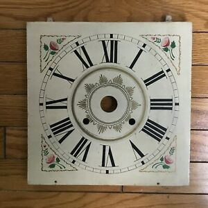 Painted Wooden Clock Face Mantle Grandfather Vintage