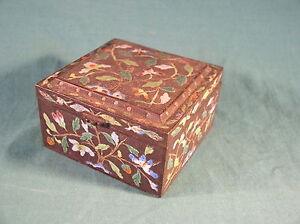 Antique Japanese Bronze and Cloisonne Enamel Floral Decorated Trinket box