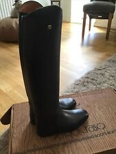 Sergio Grasso Black Leather Riding Boots Size 7 Uk 41 Euro Extra Wide