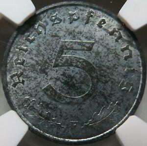 GERMANY 3rd Reich 5 Reichspfennig 1940 F Stuttgart NGC UNC Det. Swastika
