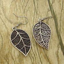 Vintage Tibet Silver Tone Earrings Leaf Style Dangle Women Charm Fashion Jewelry