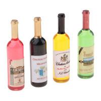 4 Piece Dollhouse Miniature Wine Bottles Champagne Drink Bottles 1/12 Scale