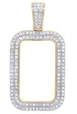 10K Yellow Gold 2 Row Lady Fortuna 10 gram Bar Real Diamond Frame Pendant 1/2CT