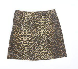 Warehouse Womens Brown Animal Print Denim A-Line Skirt Size 14  - Animal pattern