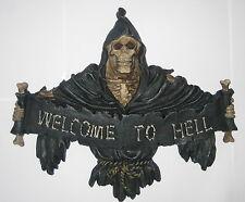 Welcome to Hell, Türschild Wandbild Relief Totenkopf Skull Kunststein, 24x20x3cm