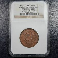 1843 Ceylon Token NGC MS64 RB - Great Britain