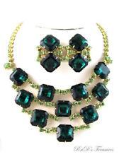 Vintage Emerald & Bright Green Rhinestone BIB Necklace & Clip On Earrings SET